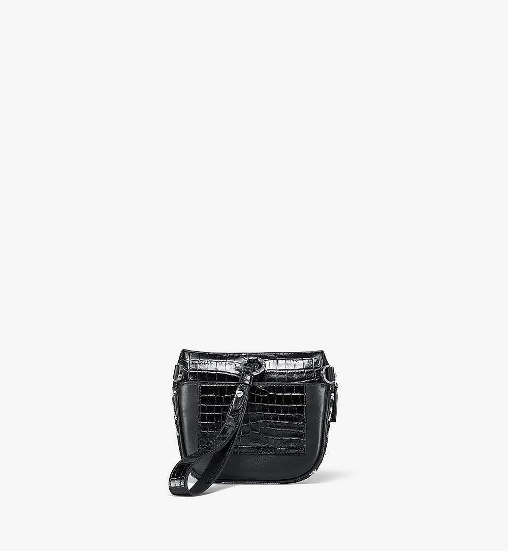 MCM Klassik Crossbody in Geo Croco Sequin Leather Black MMRBSKC06BK001 Alternate View 3