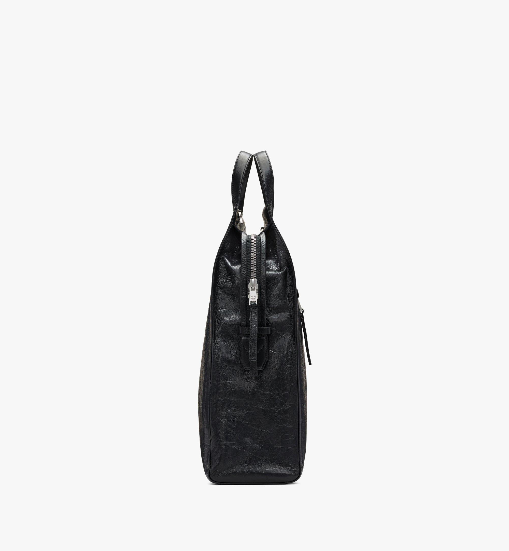 MCM Klassik Tote in Crushed Leather Black MMTASKC01BK001 Alternate View 2