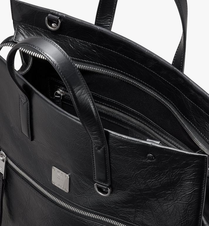 MCM Klassik Tote in Crushed Leather Black MMTASKC01BK001 Alternate View 4