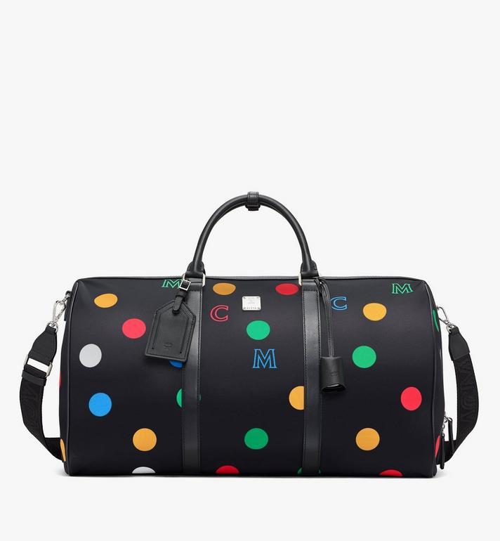 MCM Traveler Weekender Bag in Polka Dot Nylon Black MMVAAVY05BK001 Alternate View 4