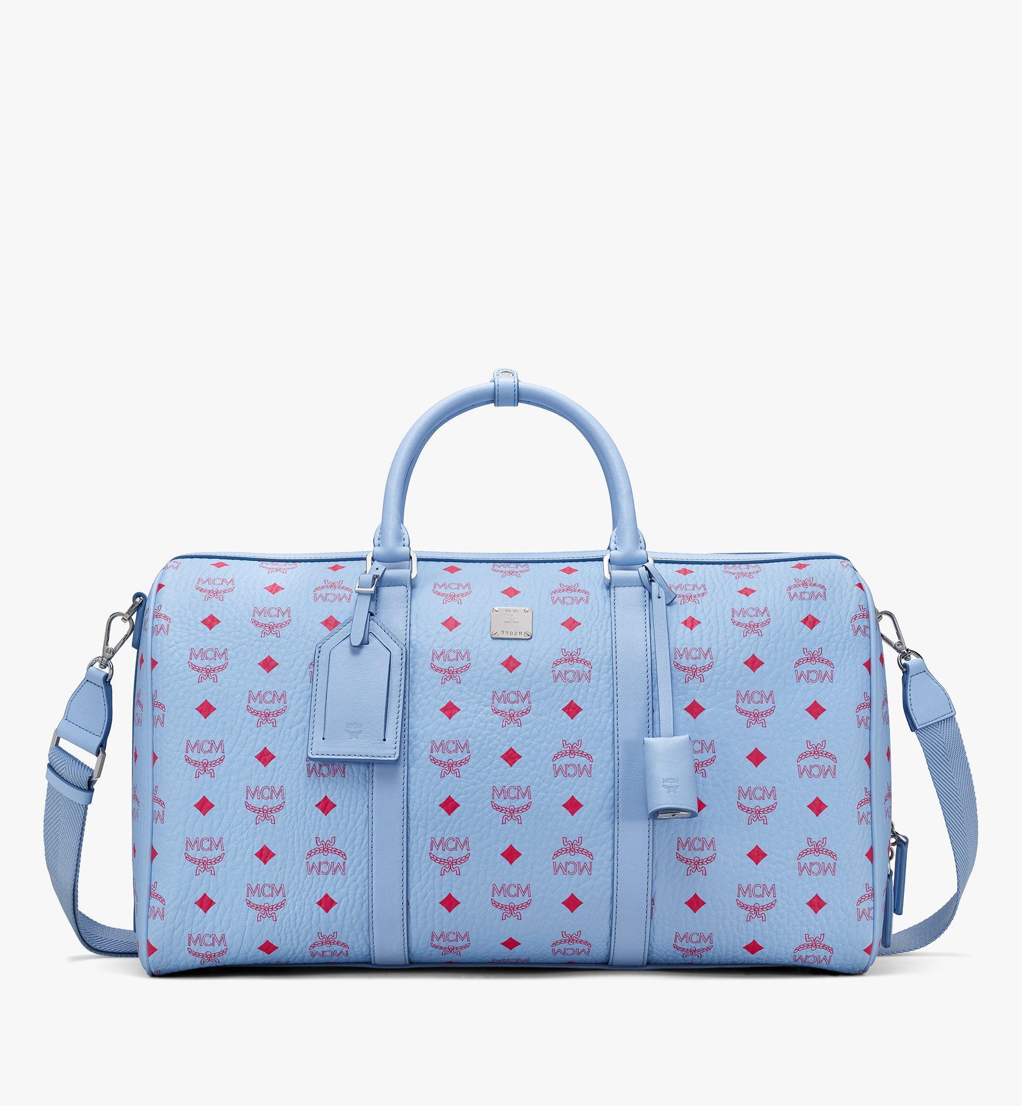 MCM Traveler Weekender Bag in Visetos Blue MMVASVY02H2001 Alternate View 1