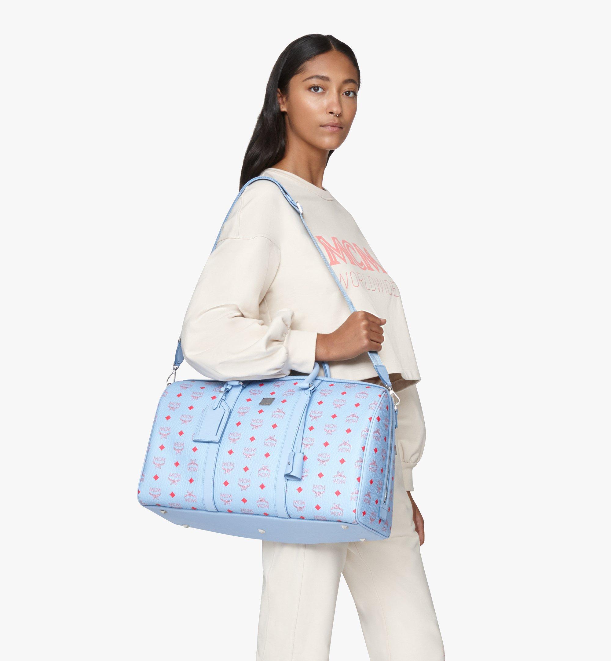 MCM Traveler Weekender Bag in Visetos Blue MMVASVY02H2001 Alternate View 6