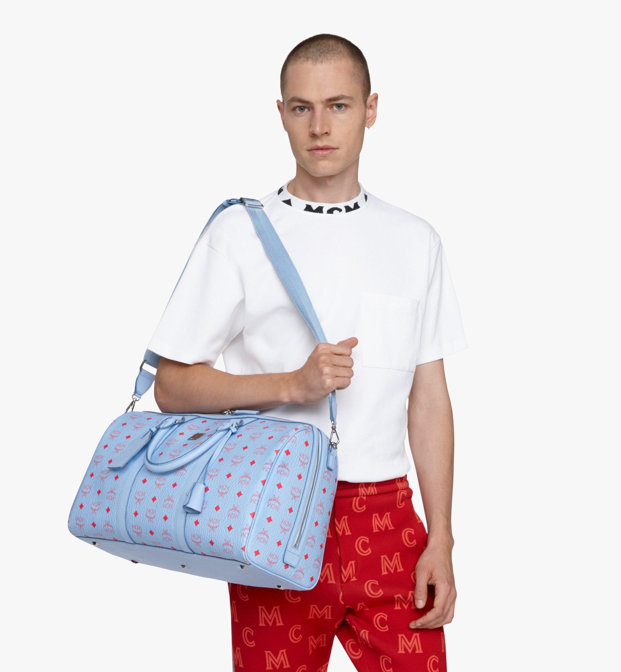 MCM Traveler Weekender Bag in Visetos Blue MMVASVY02H2001 Alternate View 8