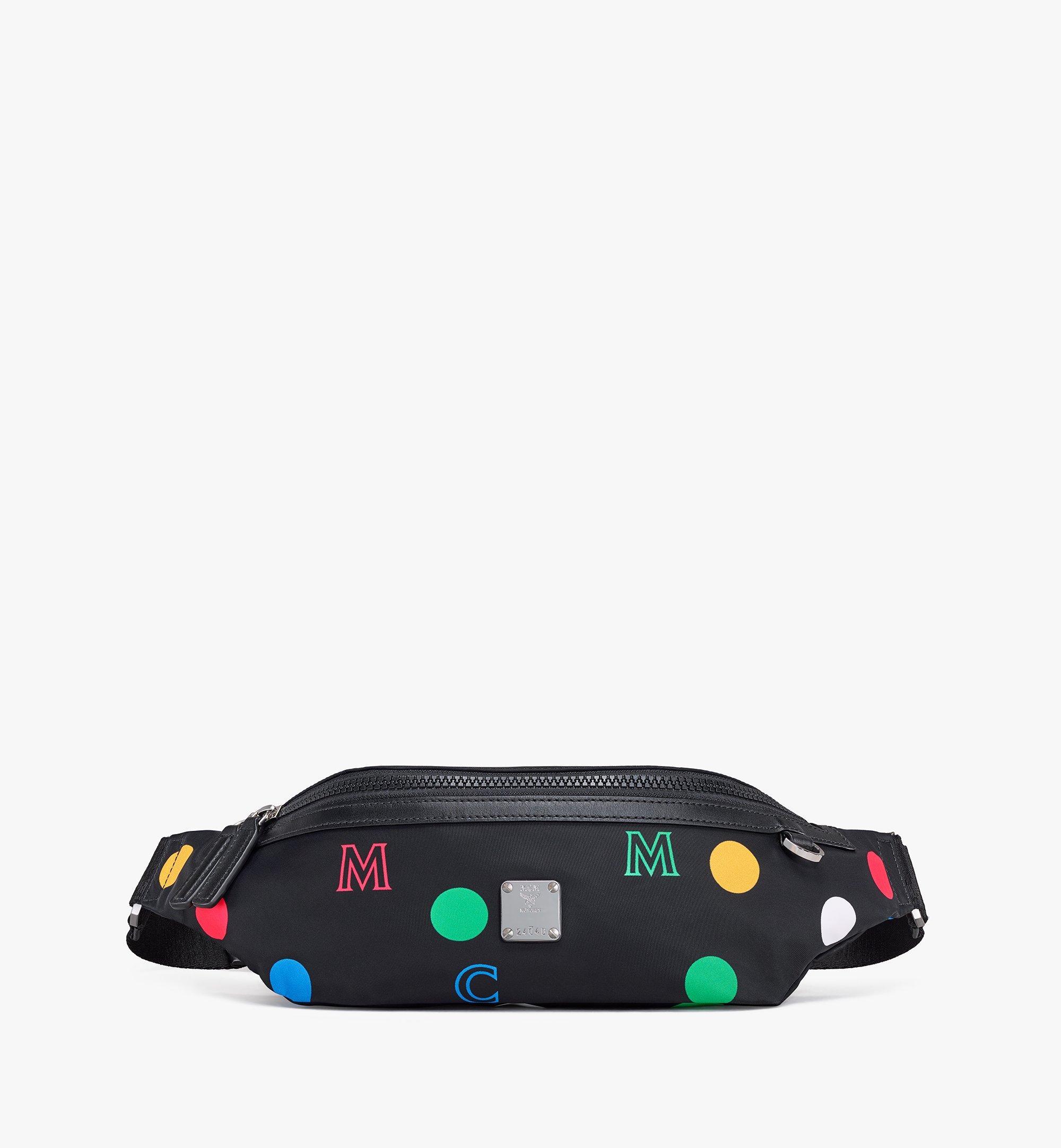 MCM Fursten Belt Bag in Polka Dot Nylon Black MMZAAFI05BK001 Alternate View 1