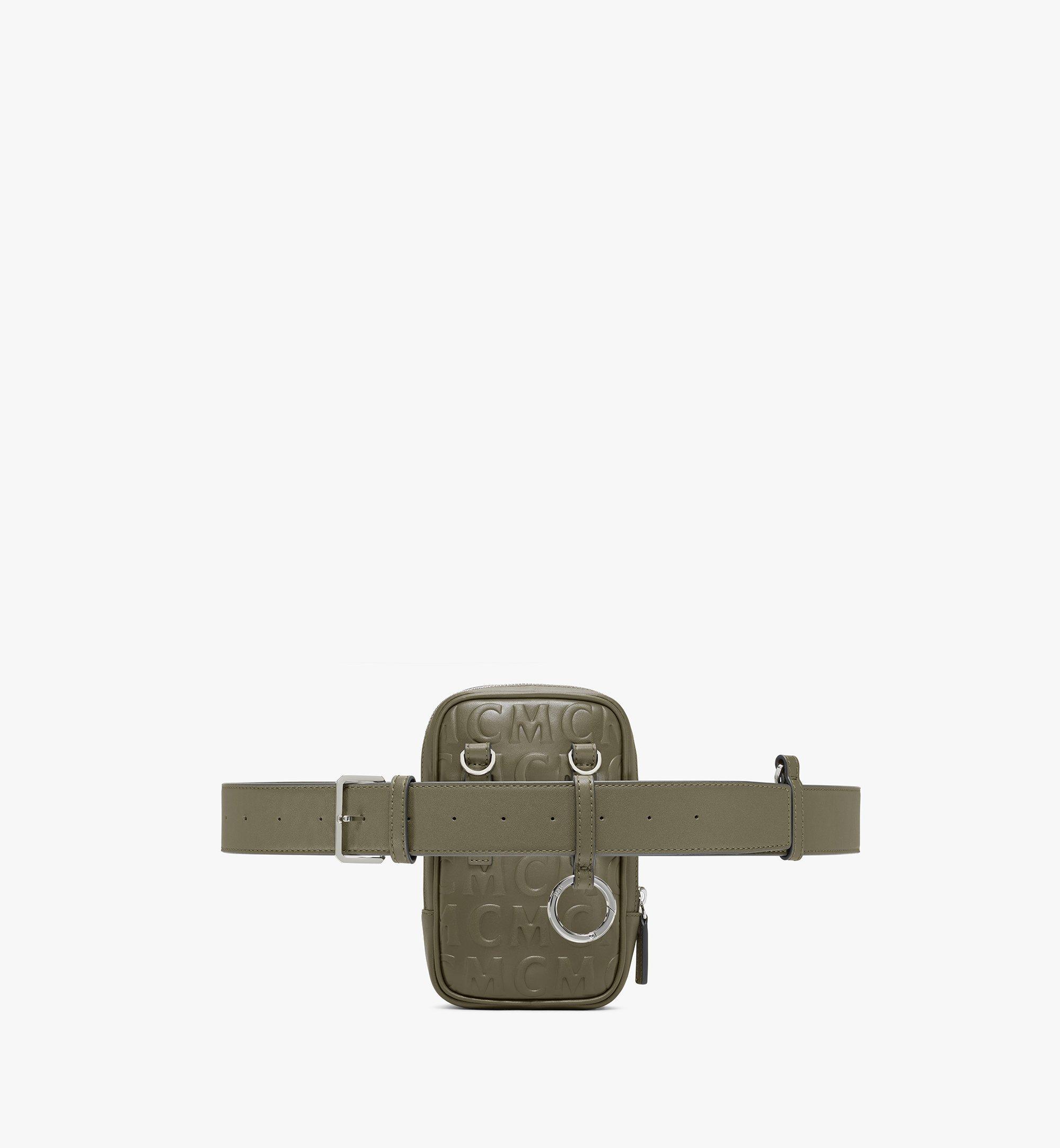 MCM N/S Klassik Belt Bag in MCM Monogram Leather Green MMZAAKC05JH001 Alternate View 3