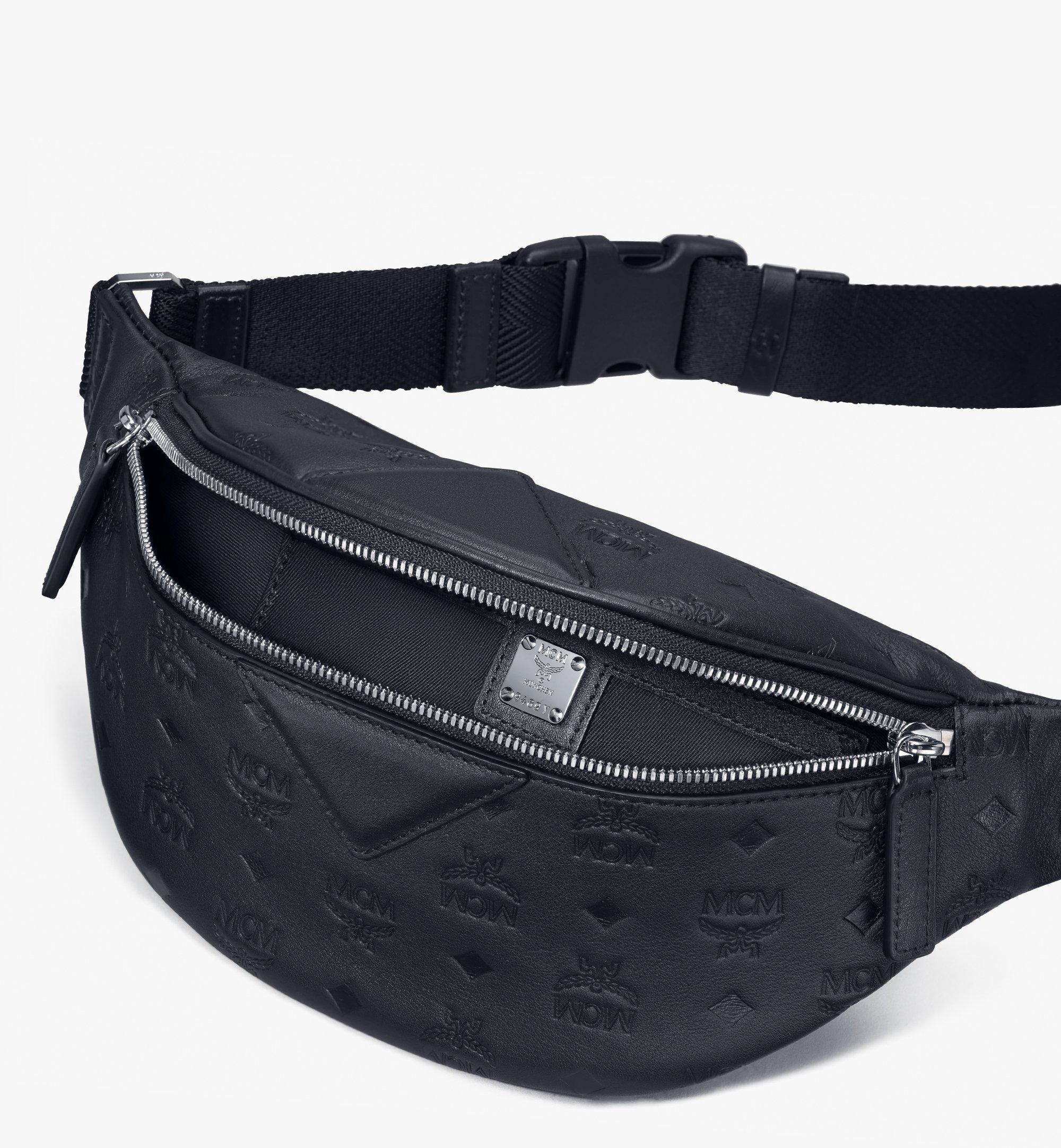 Small Fursten Gürteltasche aus Leder mit Monogramm Schwarz