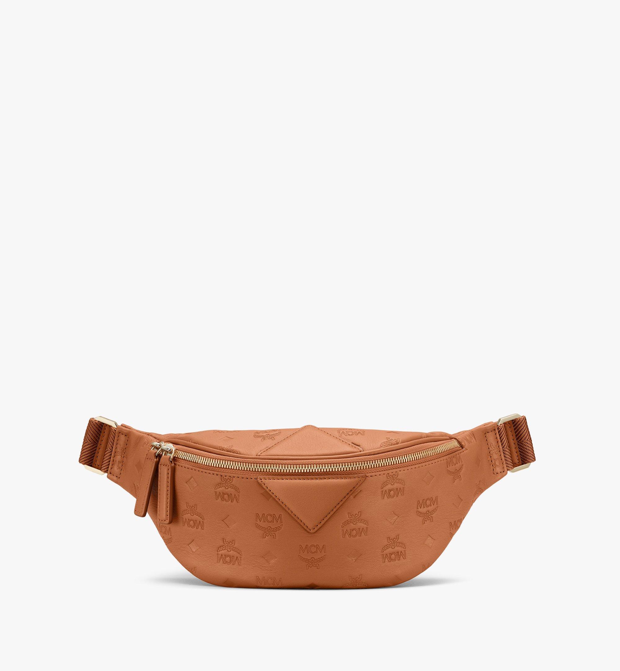 Small Fursten Gürteltasche aus Leder mit Monogramm Cognac