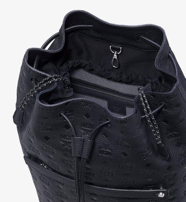 MCM Tivitat Drawstring Backpack in Monogram Leather Black MUK9ABT01BK001 Alternate View 4