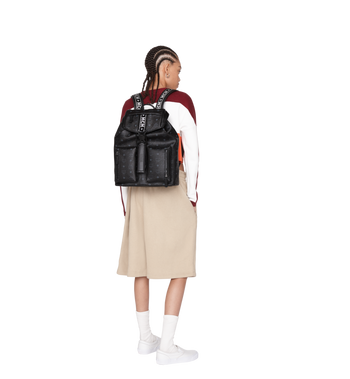 MCM Raymonde Two Pocket Backpack in Visetos MUK9SRY01BK001 AlternateView7