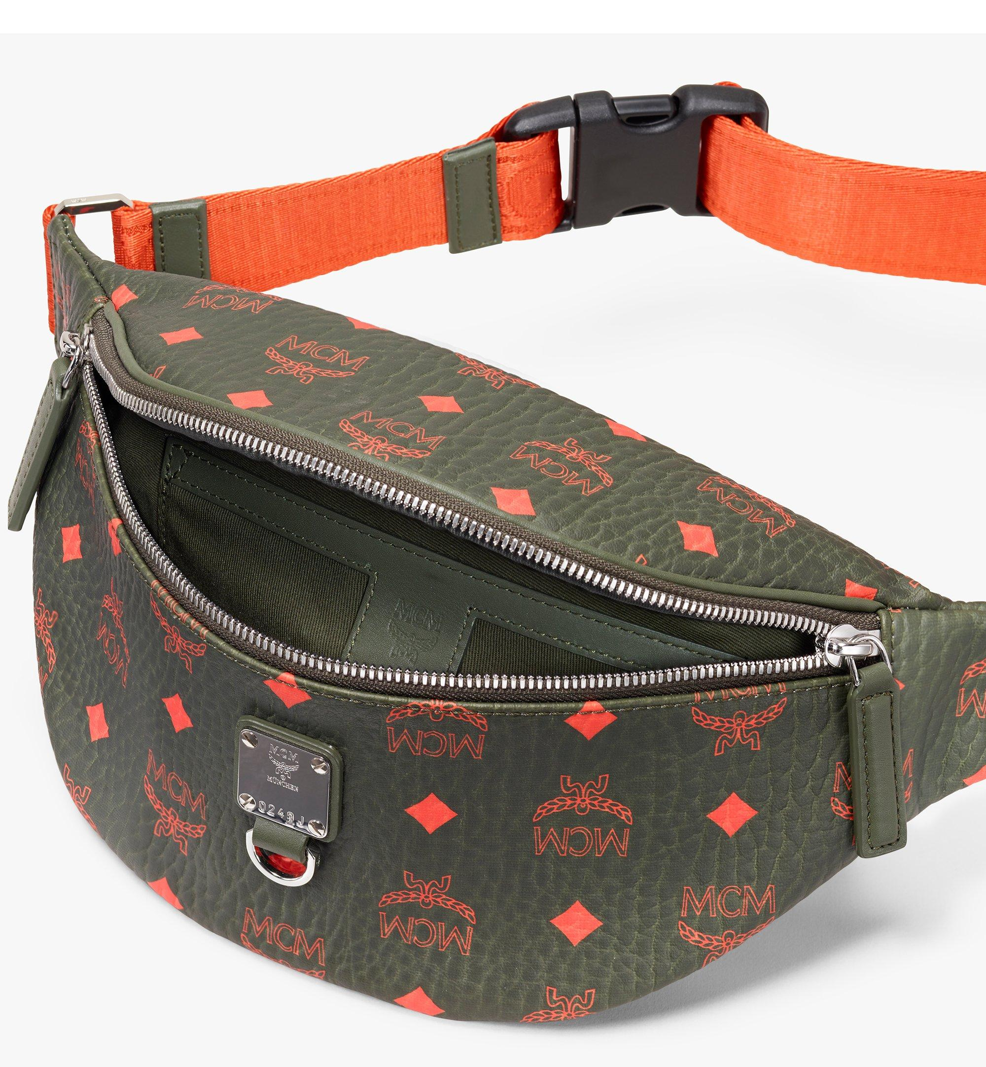 Small Fursten Belt Bag in Visetos Winter Moss   MCM® DE
