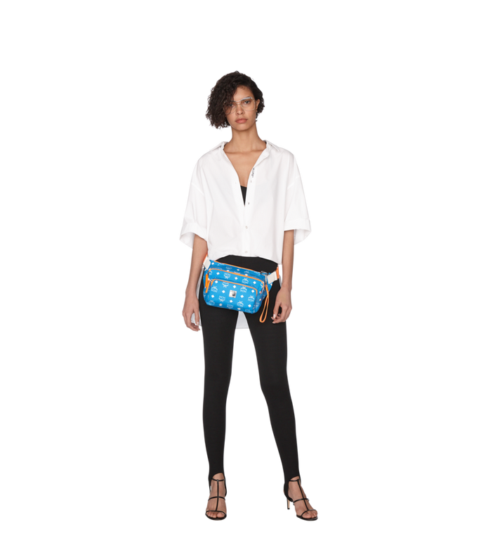 MCM Resnick Belt Bag in White Logo Nylon Alternate View 6