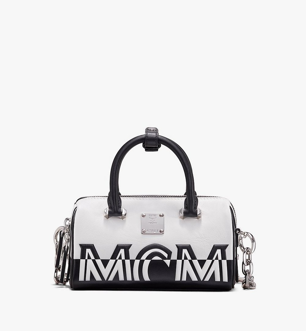 MCM Boston Bag in Contrast Logo Leather White MWB9ACL13WT001 Alternate View 1