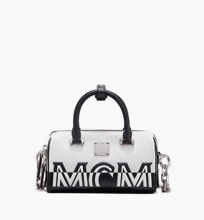 MCM Boston Bag in Contrast Logo Leather Alternate View