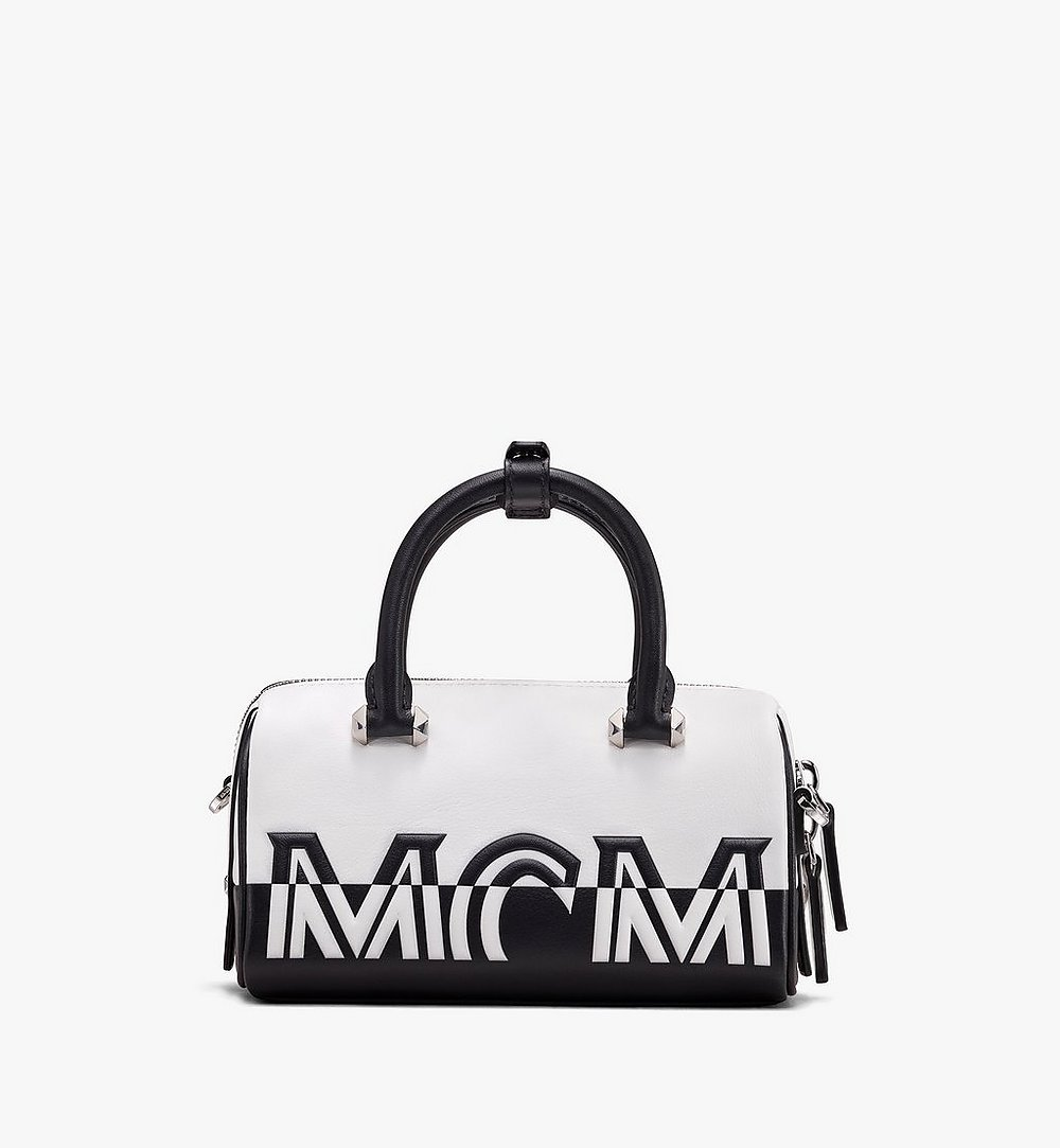 MCM Boston Bag in Contrast Logo Leather White MWB9ACL13WT001 Alternate View 2