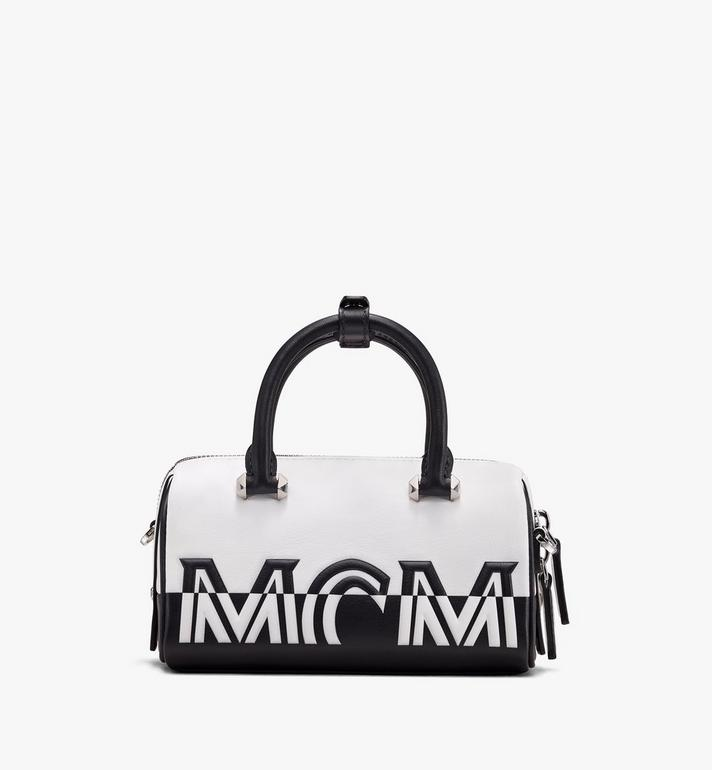 MCM Boston Bag in Contrast Logo Leather Alternate View 3