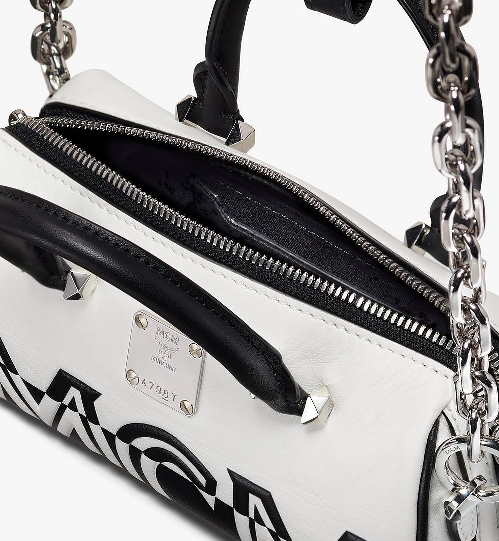 MCM Boston Bag in Contrast Logo Leather White MWB9ACL13WT001 Alternate View 3