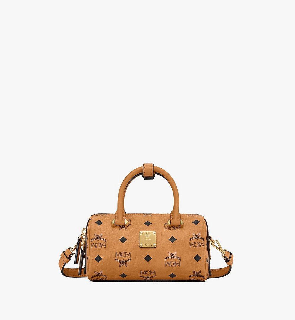 MCM Essential Boston Bag in Visetos Cognac MWB9ASE25CO001 Alternate View 1