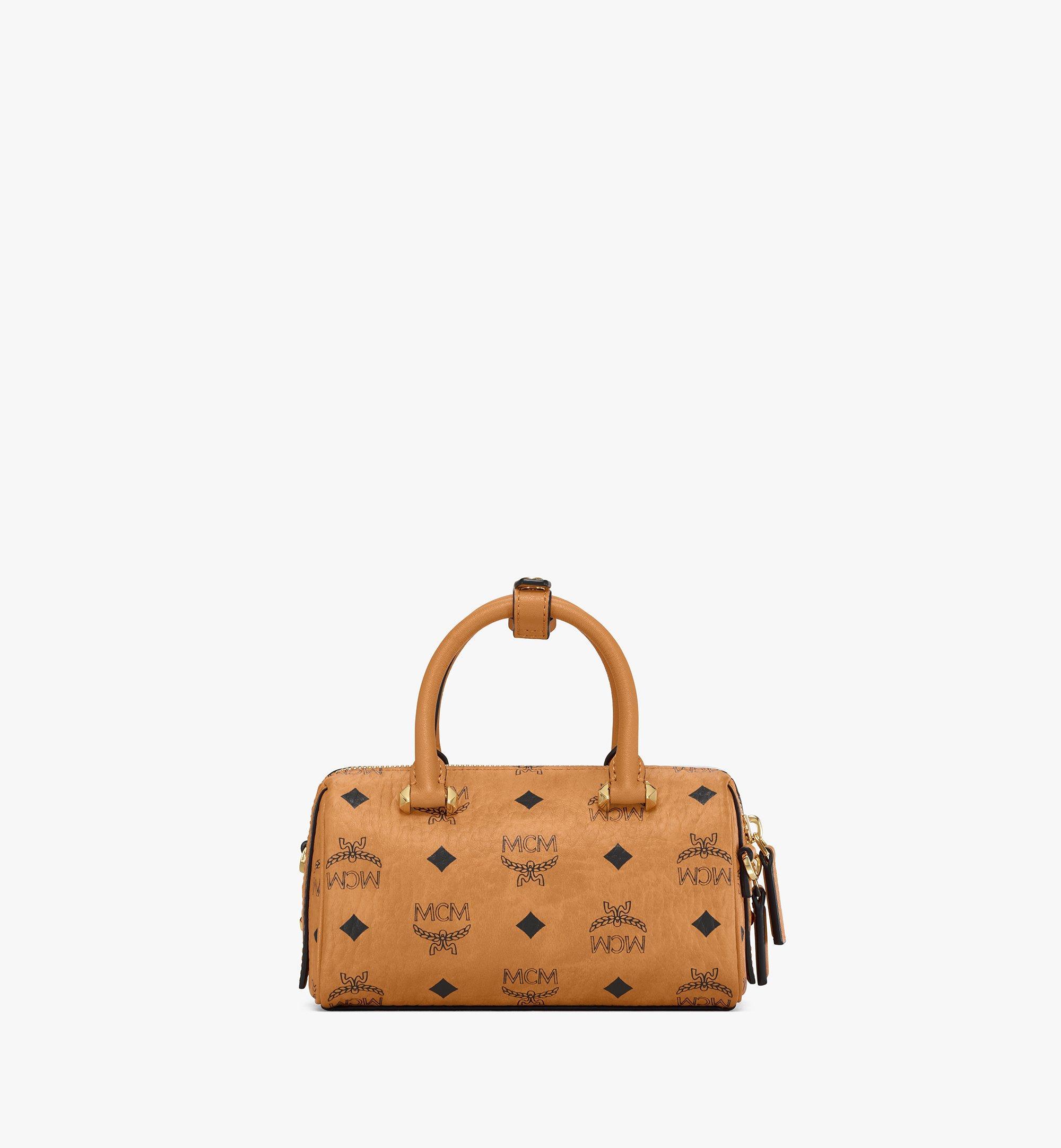 18 cm 7 in Essential Boston Bag in Visetos Cognac   MCM® DE