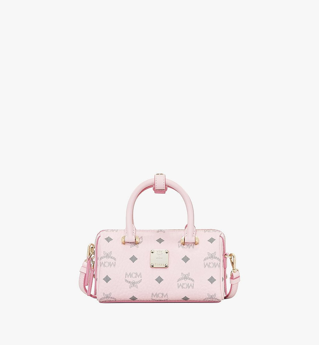 MCM Essential Boston Bag in Visetos Original Pink MWB9ASE25QH001 Alternate View 1