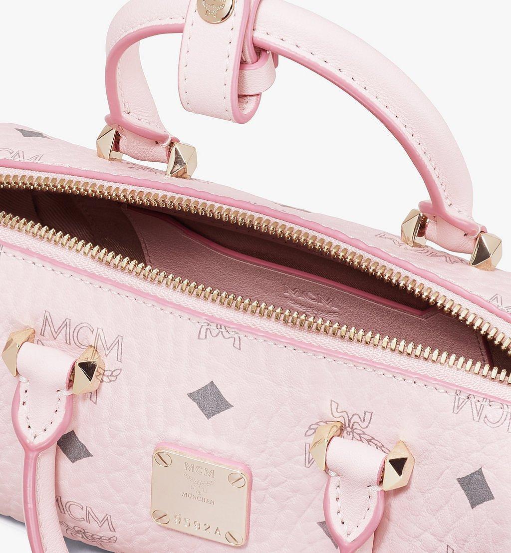 MCM Essential Boston Bag in Visetos Original Pink MWB9ASE25QH001 Alternate View 3