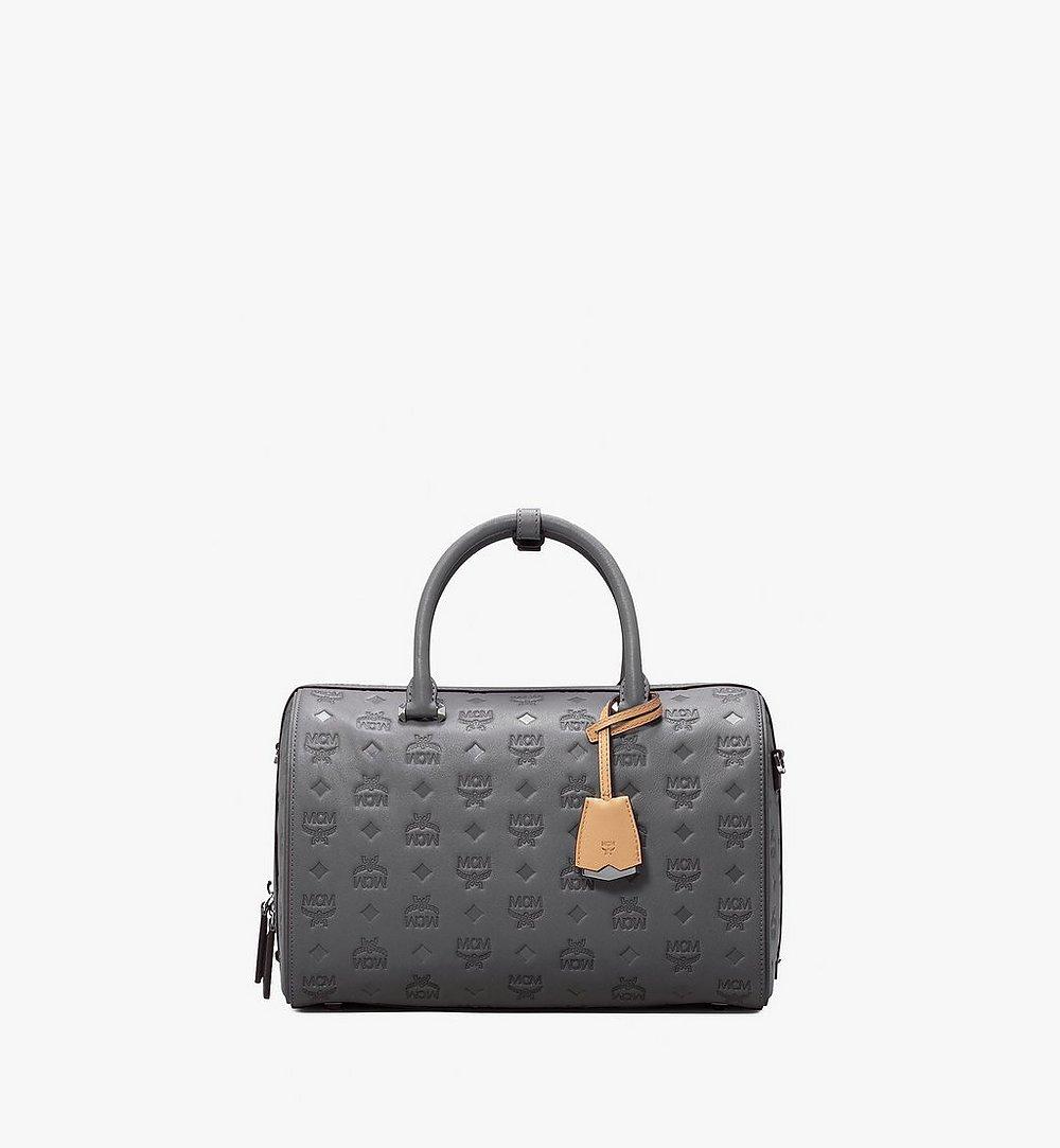 MCM Essential Boston Bag in Monogram Leather Grey MWB9ASE53EC001 Alternate View 1
