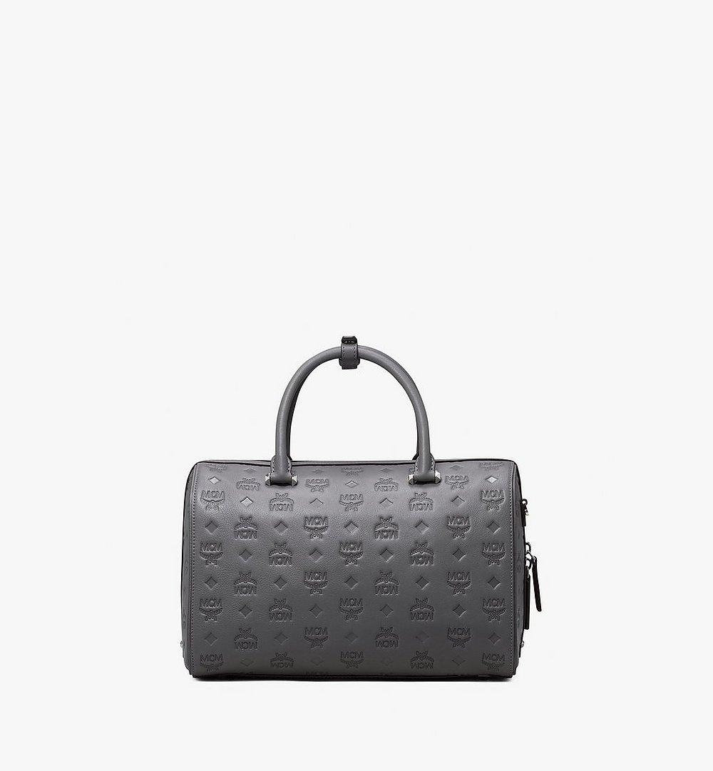 MCM Essential Boston Bag in Monogram Leather Grey MWB9ASE53EC001 Alternate View 2