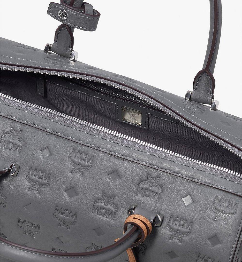 MCM Essential Boston Bag in Monogram Leather Grey MWB9ASE53EC001 Alternate View 3