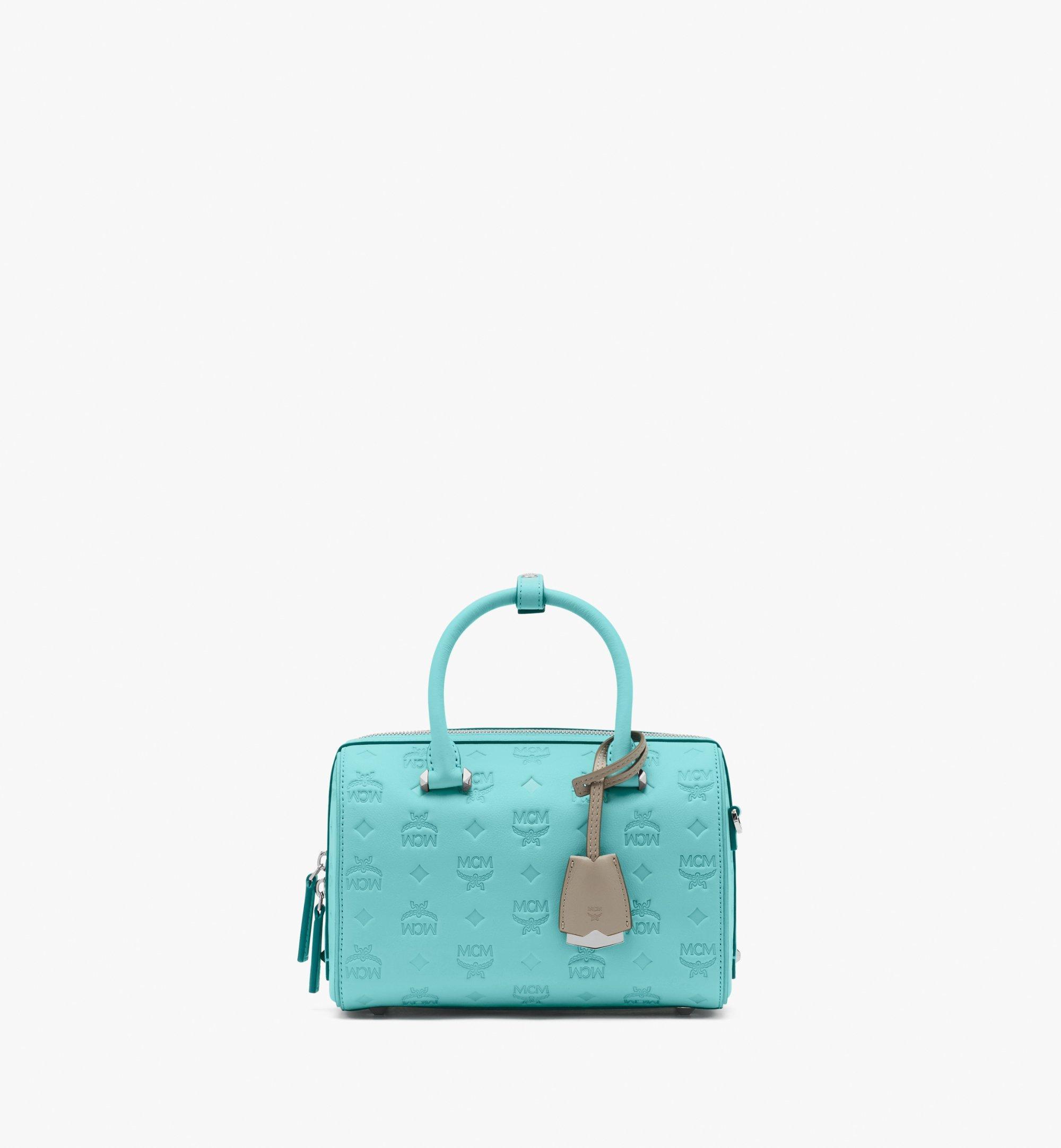 23 cm 9 in Essential Boston Bag in Monogram Leather Pool