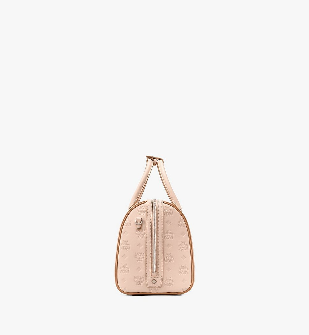 MCM Essential Boston Bag in Monogram Leather Beige MWB9SSE53II001 Alternate View 1