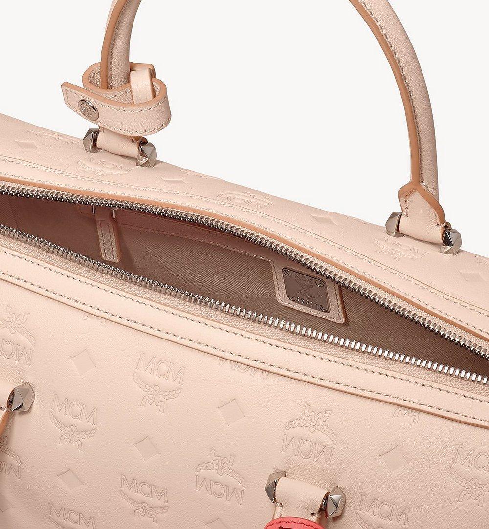 MCM Essential Boston Bag in Monogram Leather Beige MWB9SSE53II001 Alternate View 3