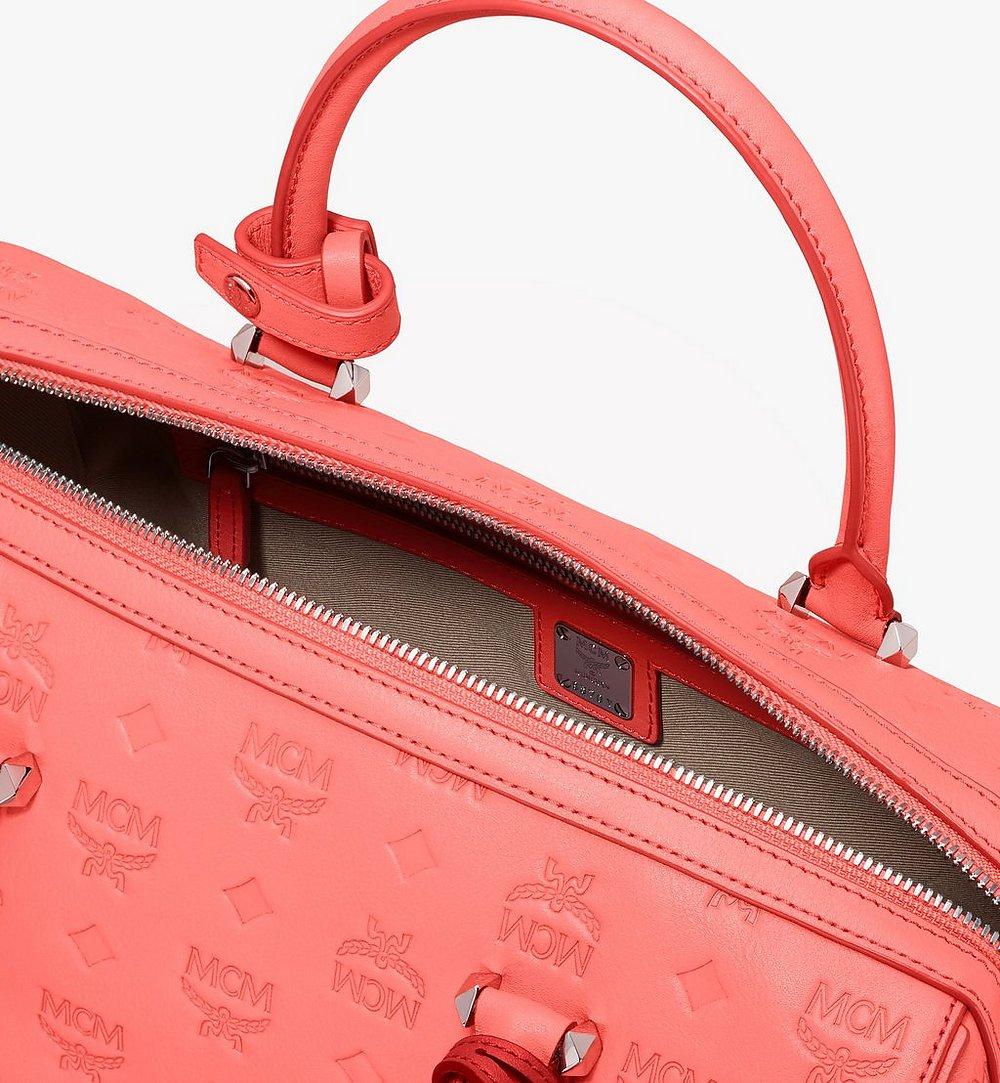 MCM Essential Boston Bag in Monogram Leather Red MWB9SSE53O3001 Alternate View 3