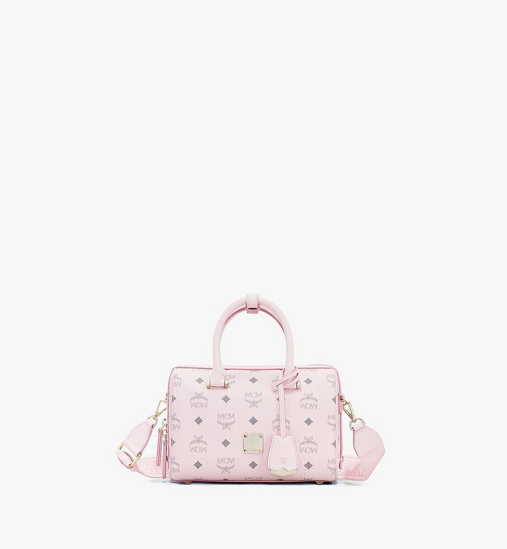MCM Essential Boston Bag in Visetos Original Pink MWB9SSE67QH001 Alternate View 1
