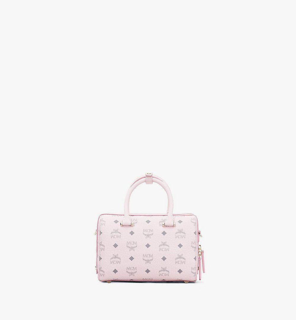 MCM Essential Boston Bag in Visetos Original Pink MWB9SSE67QH001 Alternate View 2