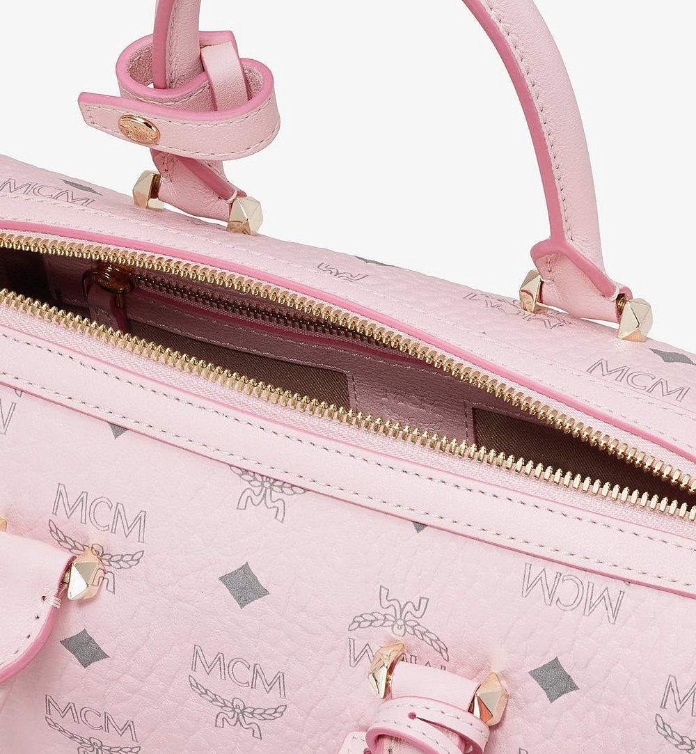 MCM Essential Boston Bag in Visetos Original Pink MWB9SSE67QH001 Alternate View 3