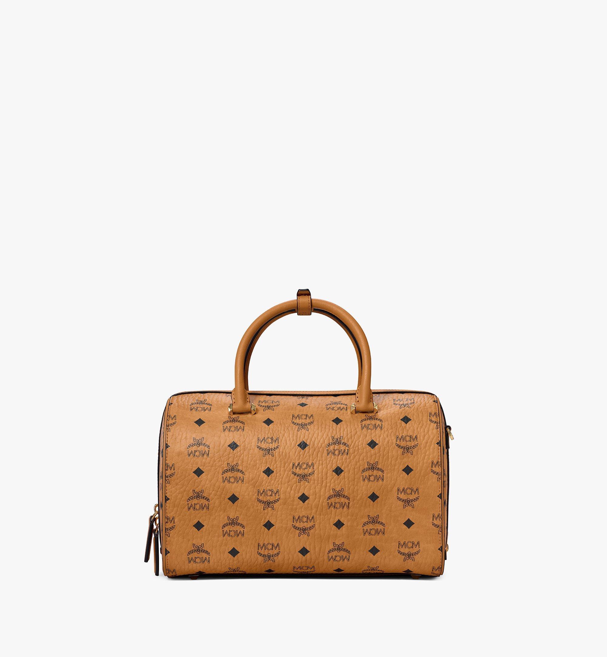 MCM Essential Boston Bag in Visetos Original Cognac MWBAASE01CO001 Alternate View 3