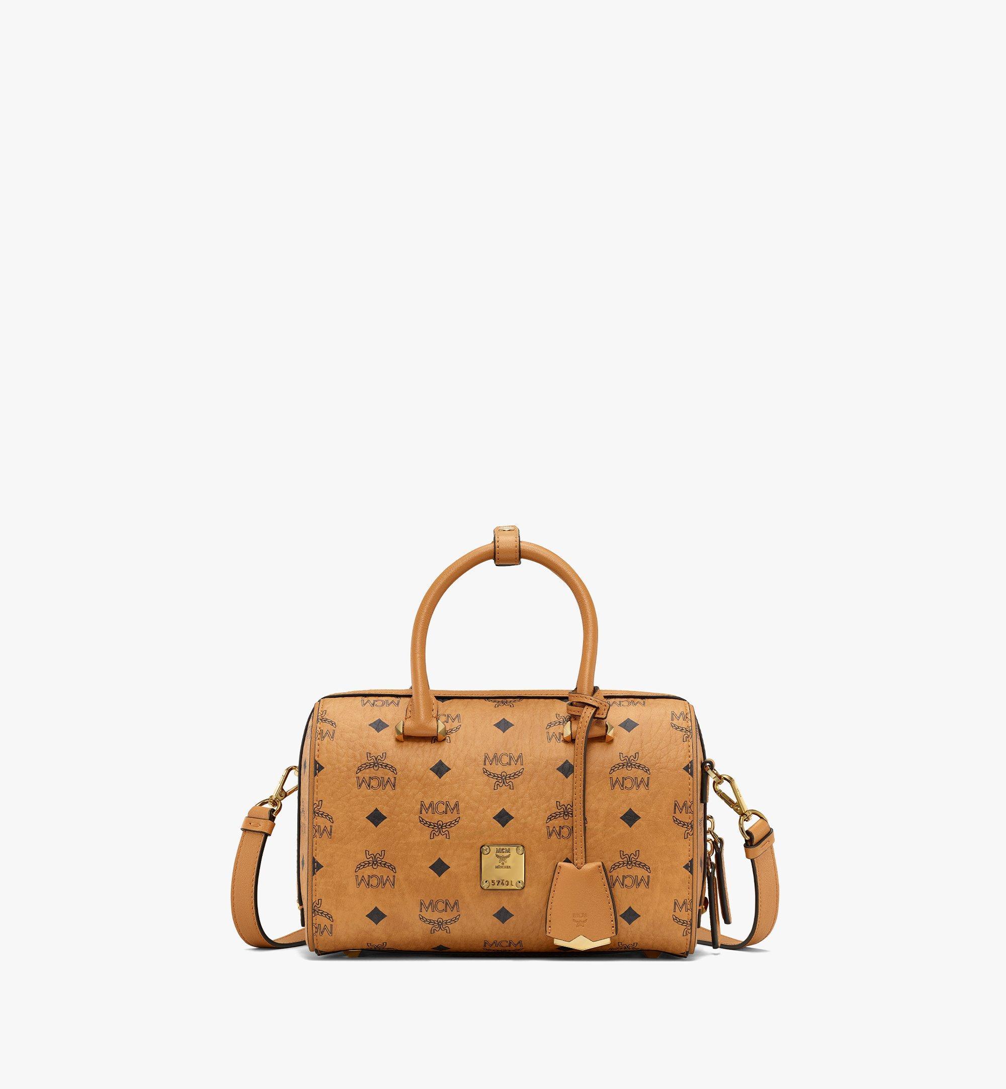 MCM Essential Boston Bag in Visetos Original Cognac MWBAASE02CO001 Alternate View 1