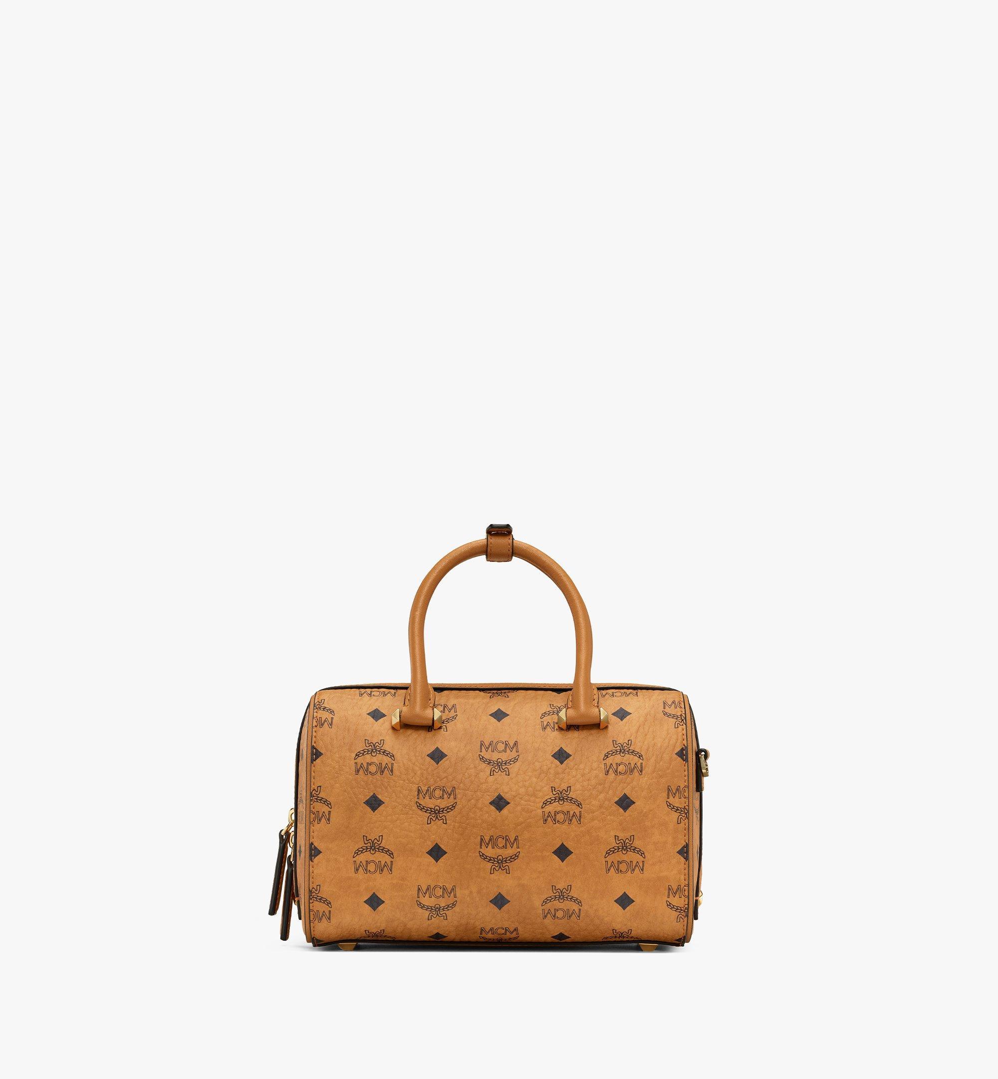 MCM Essential Boston Bag in Visetos Original Cognac MWBAASE02CO001 Alternate View 3