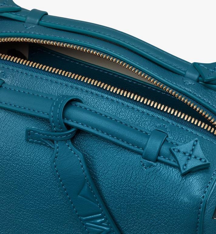 MCM Milano Boston Bag in Goatskin Leather Blue MWBASDA02JF001 Alternate View 4