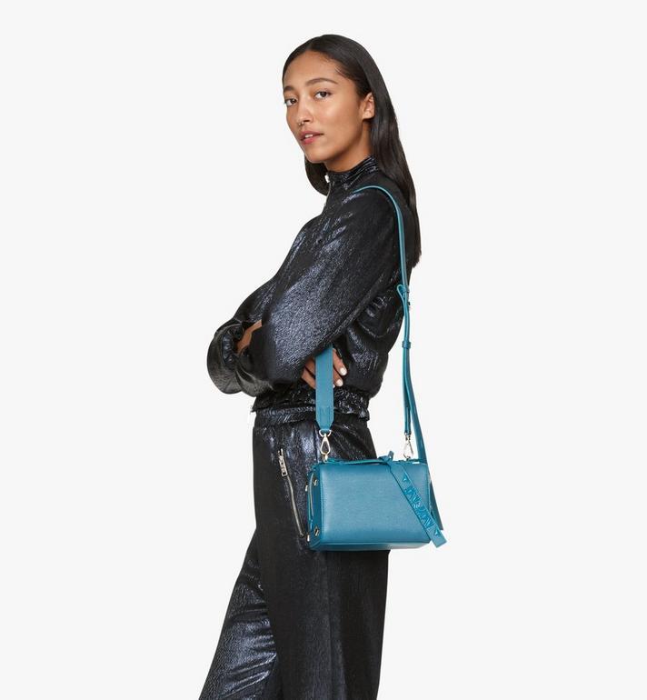 MCM Milano Boston Bag in Goatskin Leather Blue MWBASDA02JF001 Alternate View 6