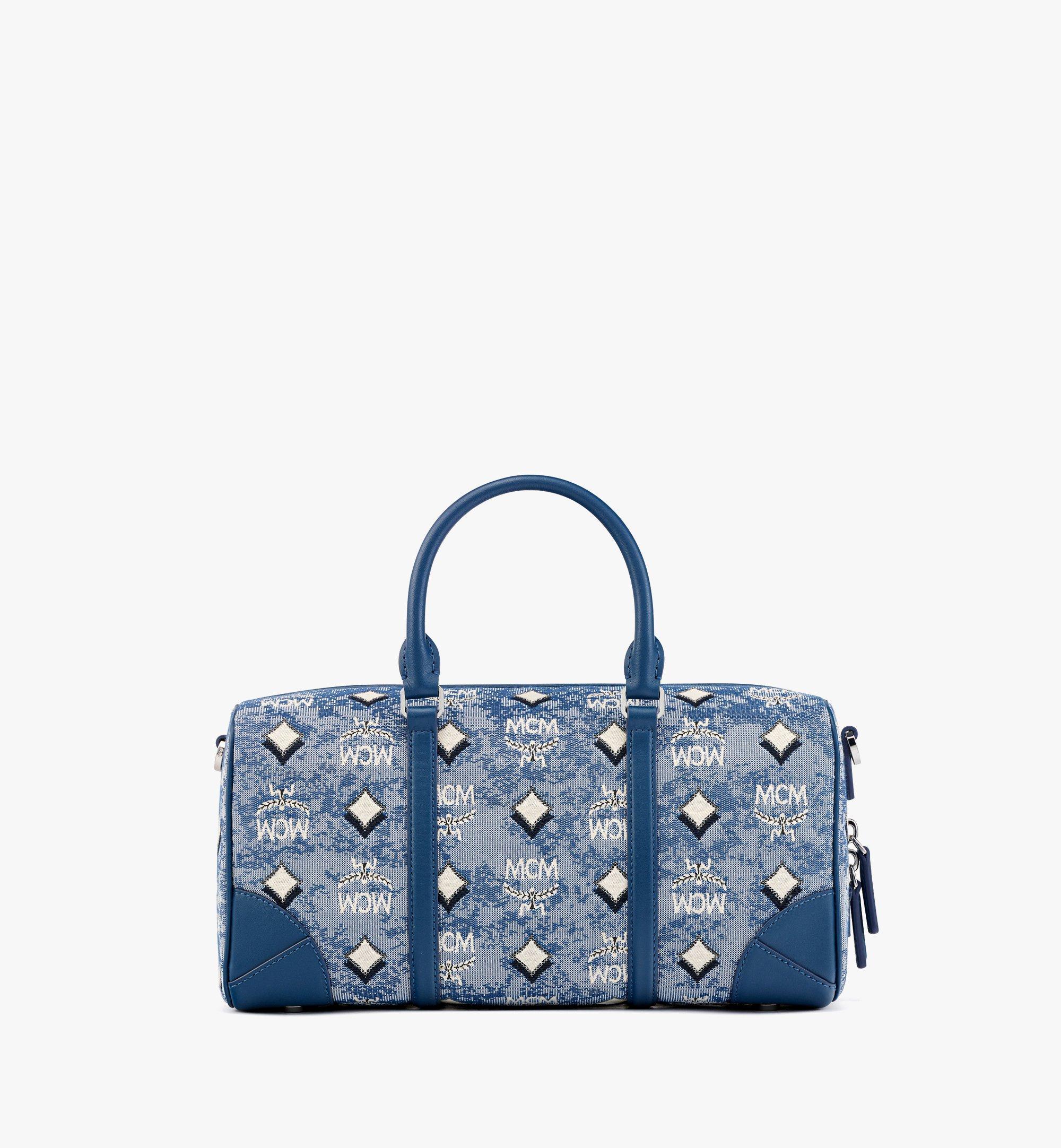 MCM Boston-Tasche aus Vintage-Jacquard mit Monogramm Blue MWBBATQ01LU001 Noch mehr sehen 3