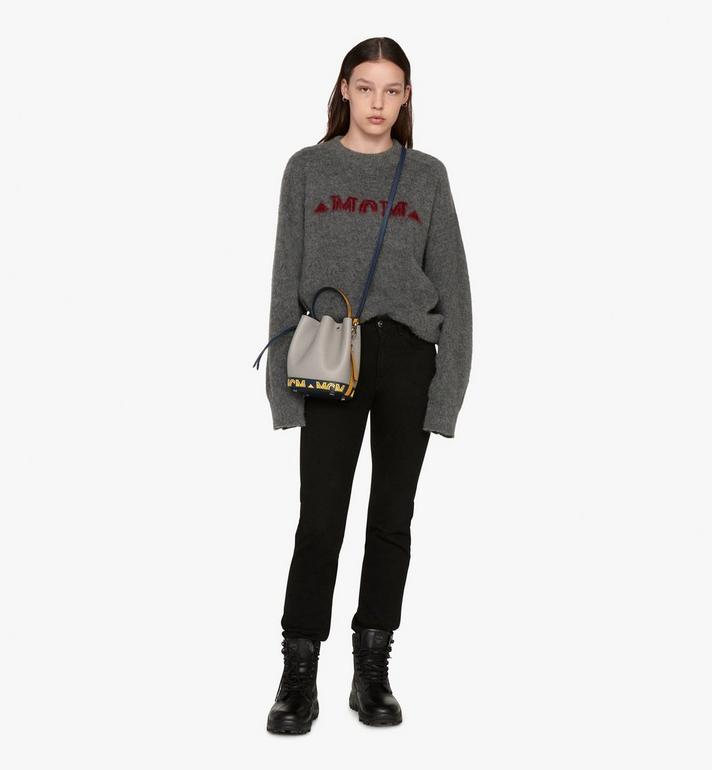 MCM Milano Mini Drawstring Bag in Calfskin Leather Alternate View 5