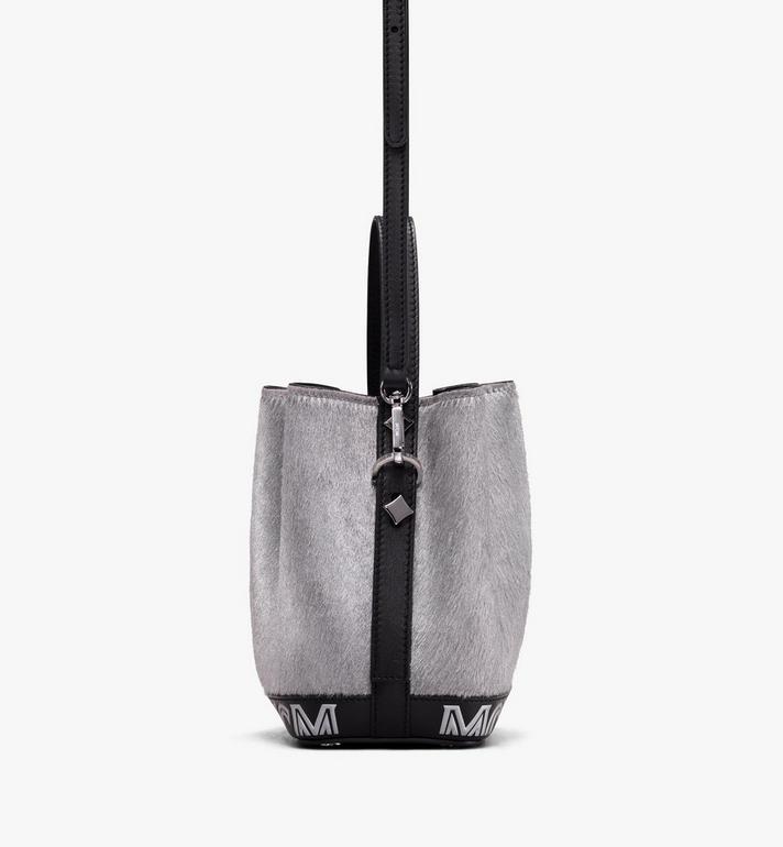 MCM Milano Mini Drawstring Bag in Metallic Haircalf Silver MWD9ADA44BI001 Alternate View 2