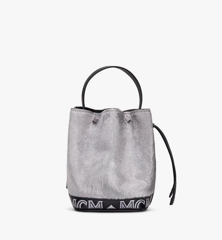 MCM Milano Mini Drawstring Bag in Metallic Haircalf Silver MWD9ADA44BI001 Alternate View 3