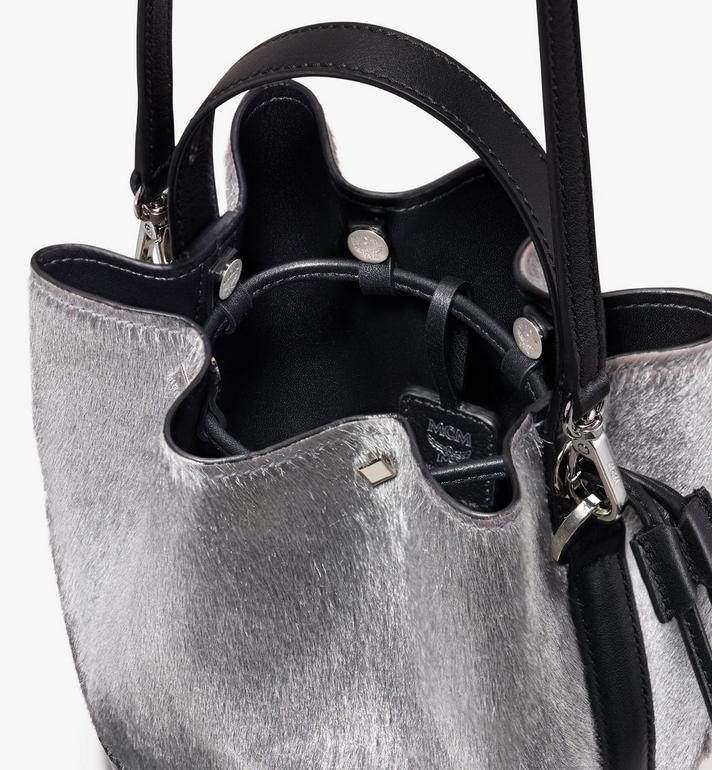 MCM Milano Mini Drawstring Bag in Metallic Haircalf Silver MWD9ADA44BI001 Alternate View 4