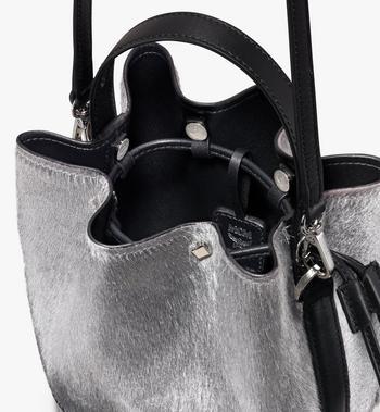 MCM Milano Mini Drawstring Bag in Metallic Haircalf Alternate View 4
