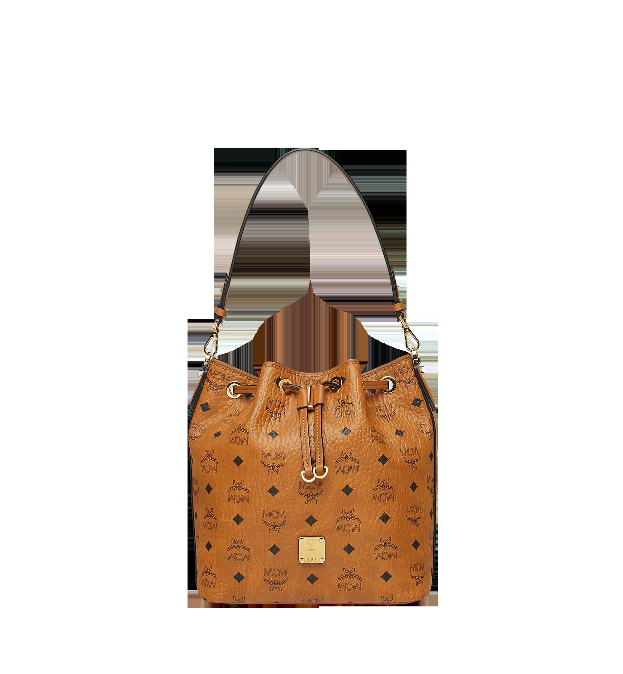 Small Essential Kordelzug Tasche in Visetos Cognac   MCM® DE