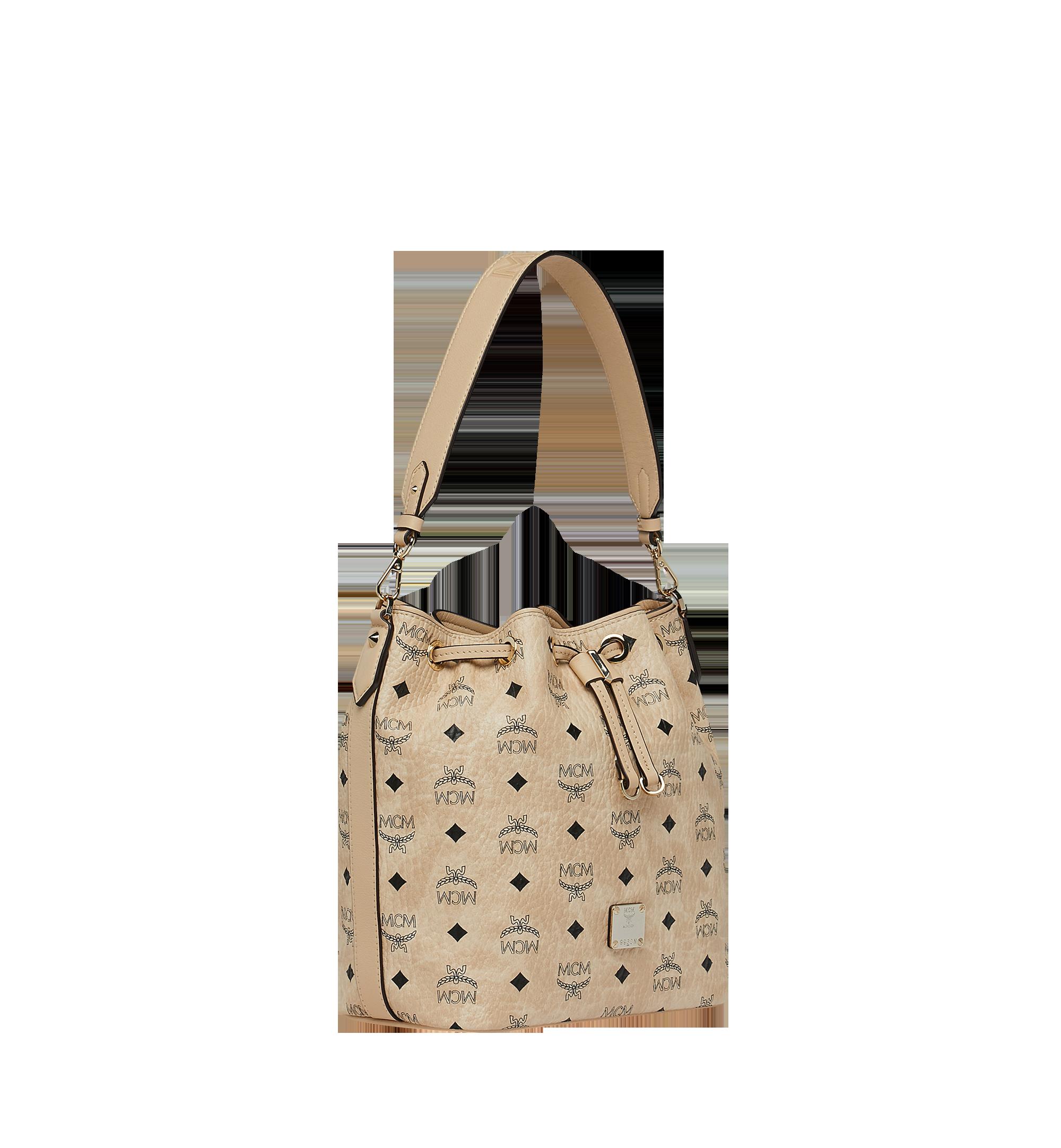 Small Essential Kordelzug Tasche in Visetos Beige | MCM® DE