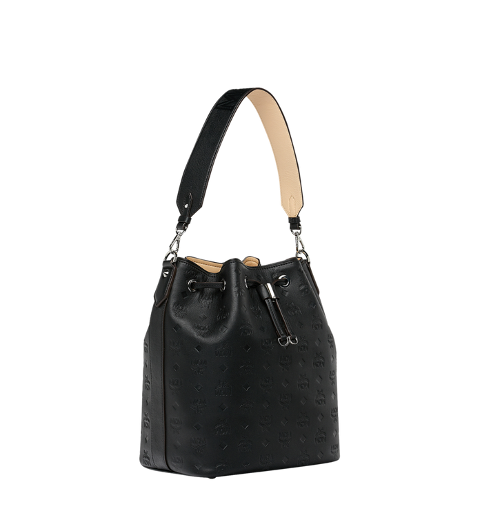 MCM Essential Drawstring in Monogram Leather Black MWD9SSE76BK001 Alternate View 2