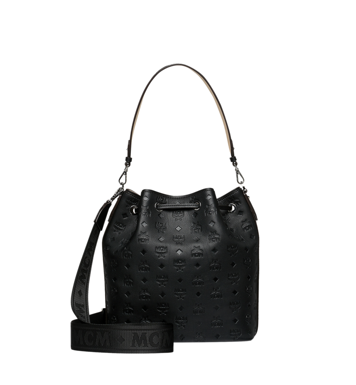 MCM Essential Drawstring in Monogram Leather Black MWD9SSE76BK001 Alternate View 4
