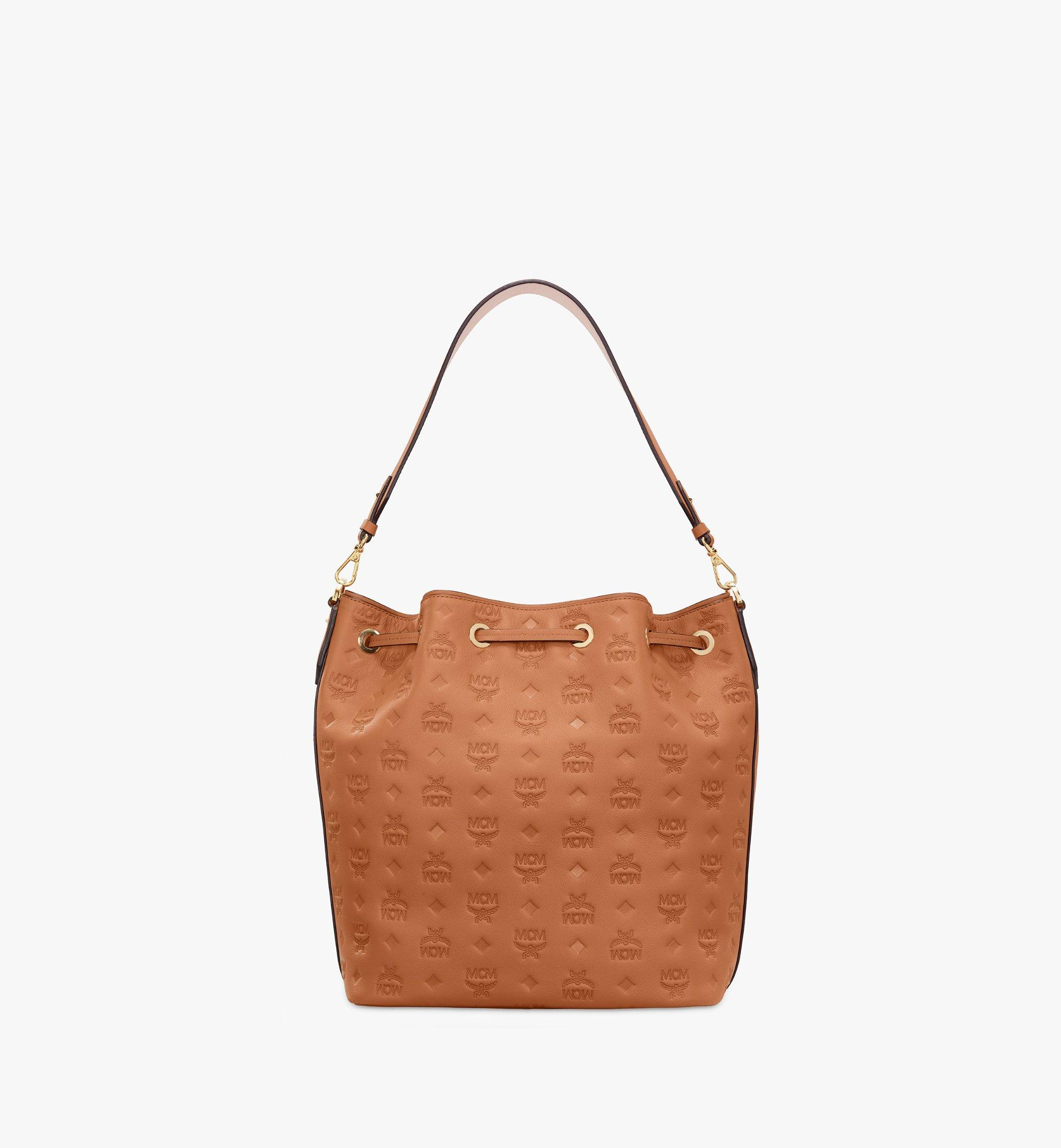 MCM Essential Drawstring Bag in Monogram Leather Cognac MWD9SSE76CO001 Alternate View 4